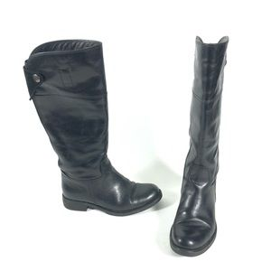 Geox Black leather riding boots tall snap knee